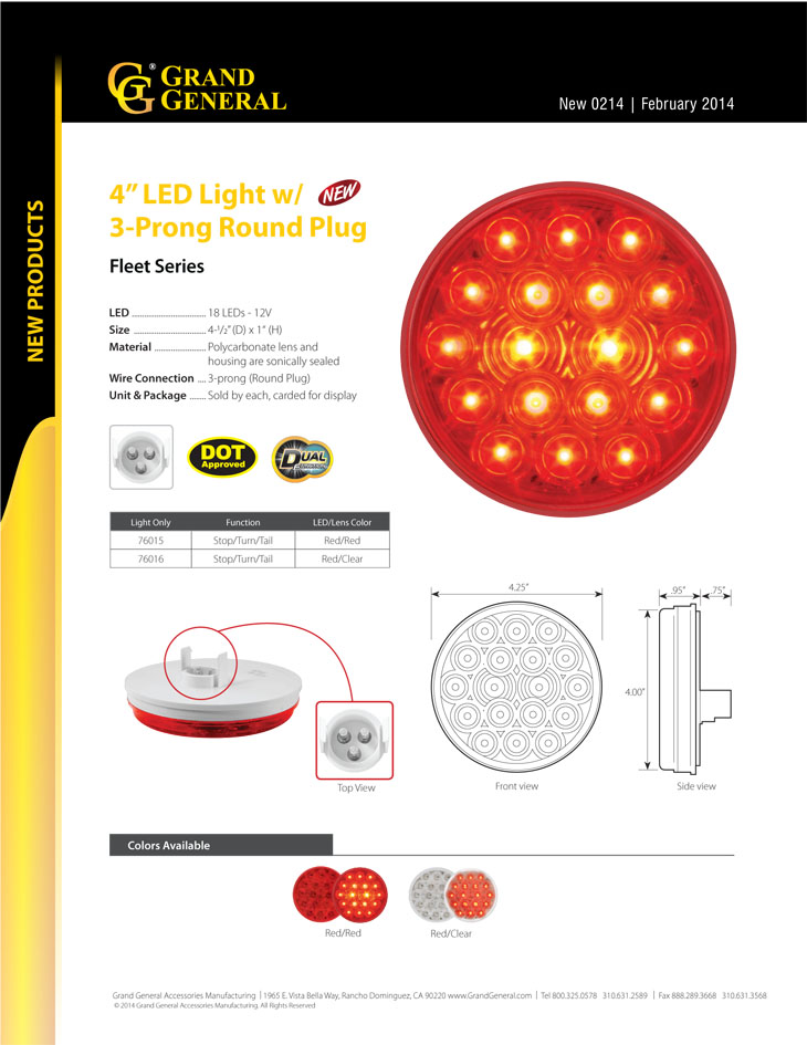 2 Function GG Grand General 77923 LED Light Spyder Red with Clear Rim and Visor