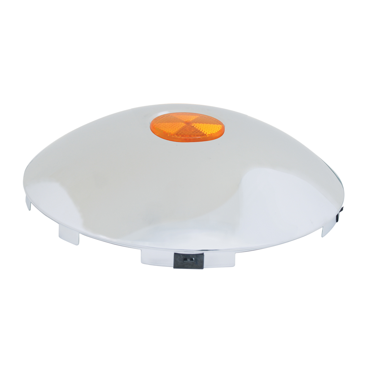 """#10790 Universal 1"""" Front Hub Caps with 2"""" Top Mounted Amber Reflector"""