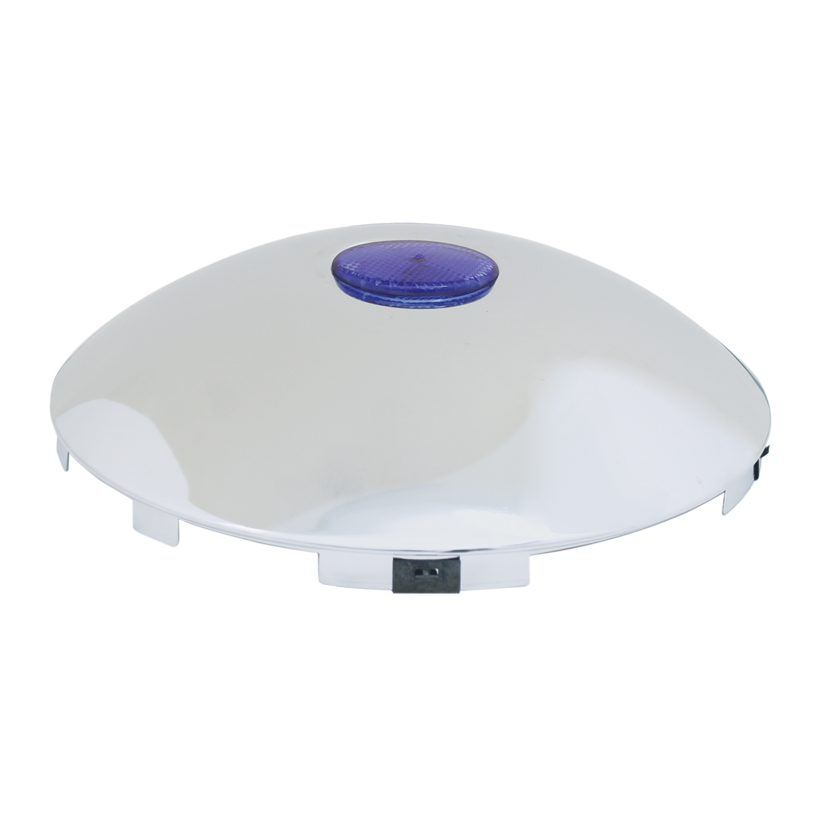 """#10791 Universal 1"""" Front Hub Caps with 2"""" Top Mounted Blue Reflector"""