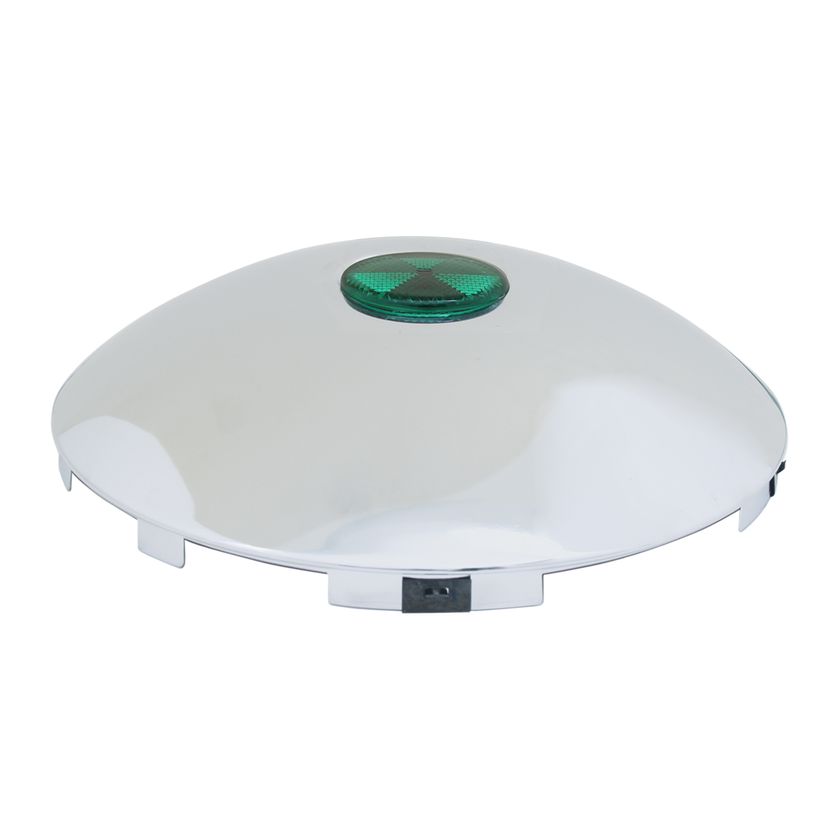 """#10792 Universal 1"""" Front Hub Caps with 2"""" Top Mounted Green Reflector"""