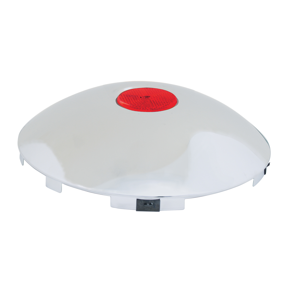 """#10794 Universal 1"""" Front Hub Caps with 2"""" Top Mounted Red Reflector"""