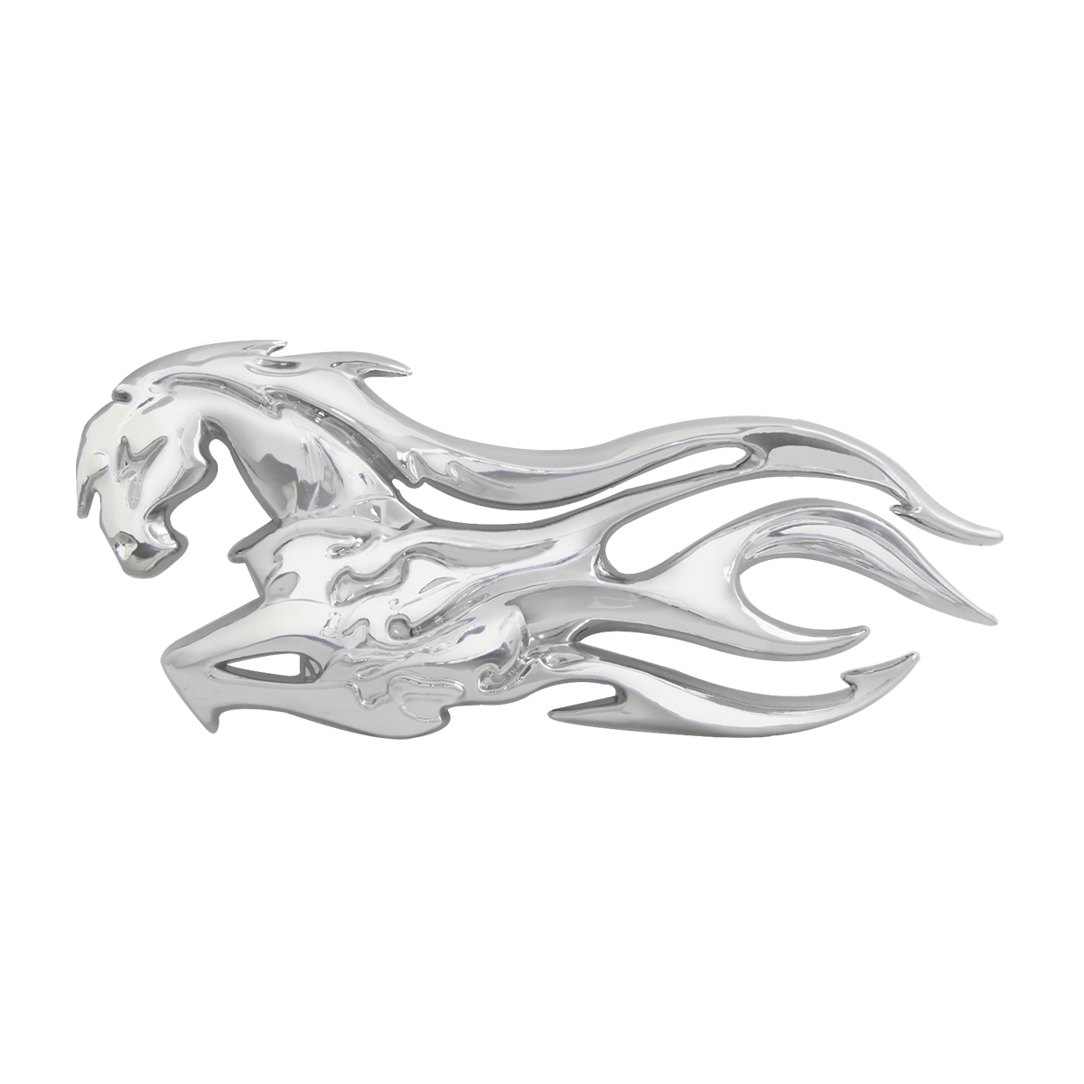 #90191 Chrome Plastic Flamed Mustang Accent - Facing Left