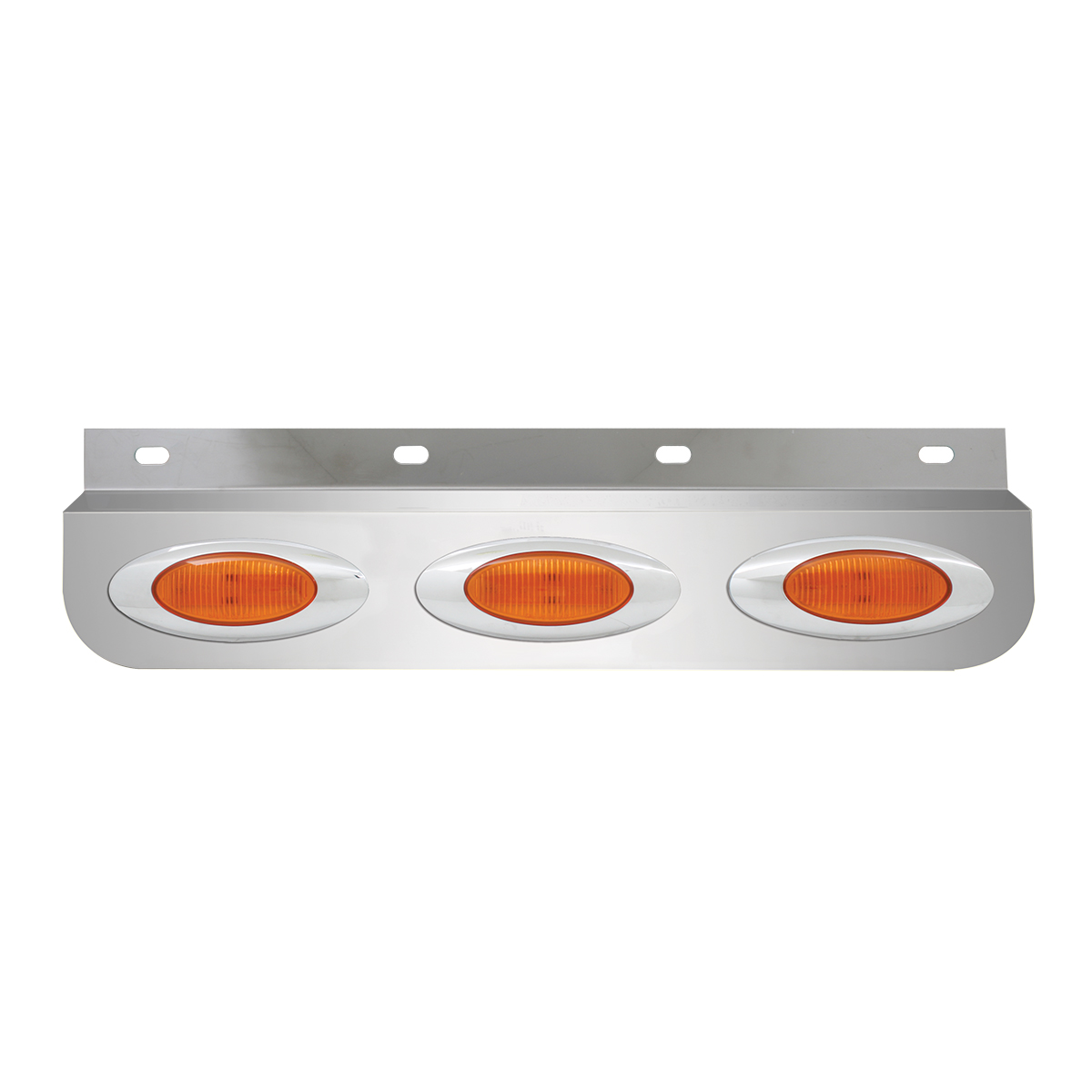 #30660 Stainless Steel Lighted Top Plate with Y2K LED Marker Lights - Amber