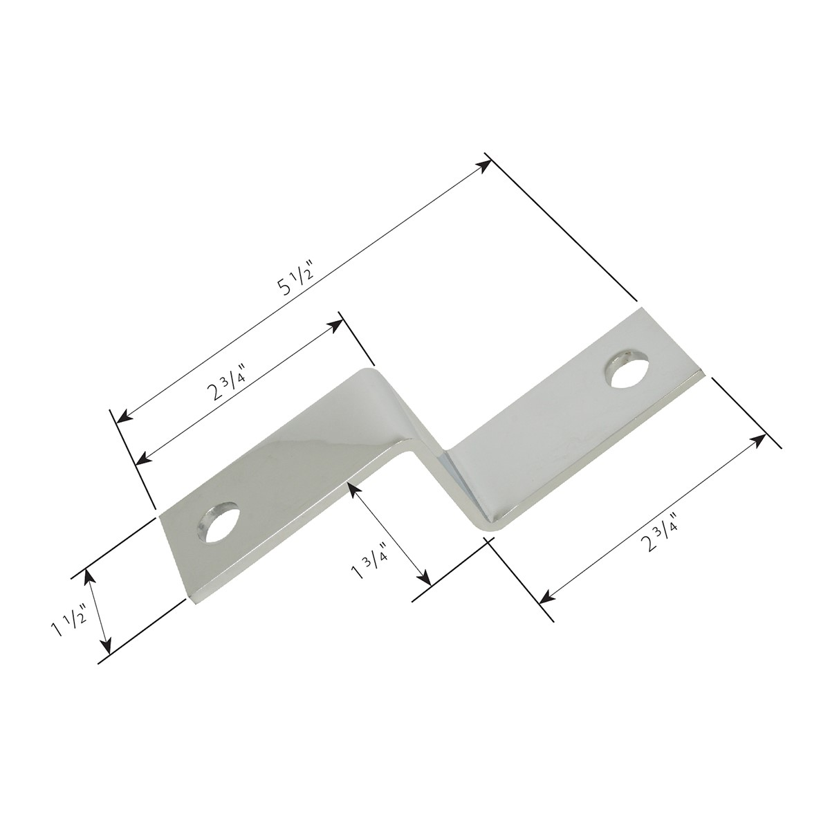 "Chrome Plated Steel ""Z"" Bracket Dimension"