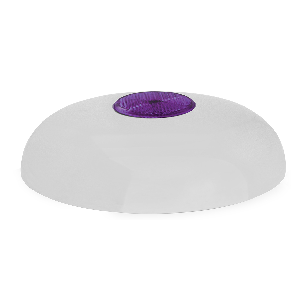 """Chrome Plated Steel Horn Cover with Purple Reflector on Center – 5 ½""""- 6"""""""