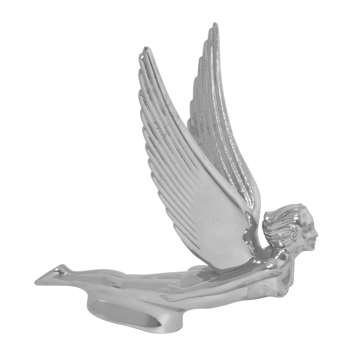Chrome Die Cast Flying Goddess Hood Ornament