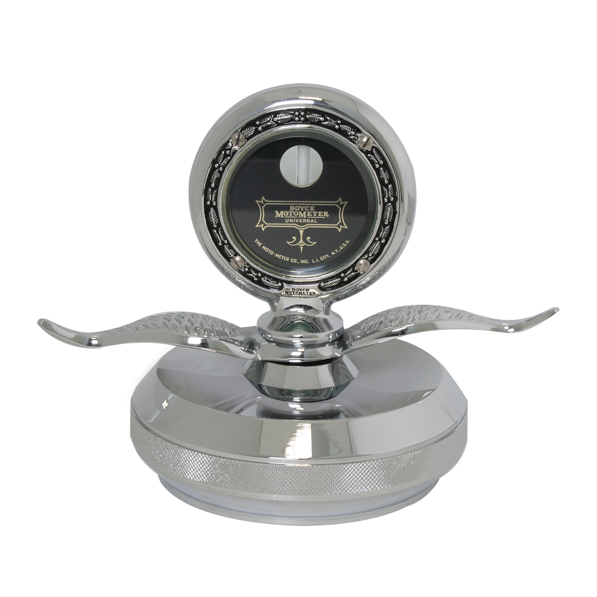 Large Chrome Motometer with Chrome Die Cast Base Hood Ornament