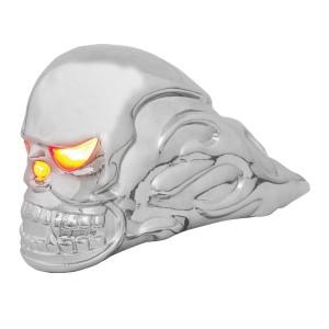 Illuminated Chrome Flame Skull Hood Ornament