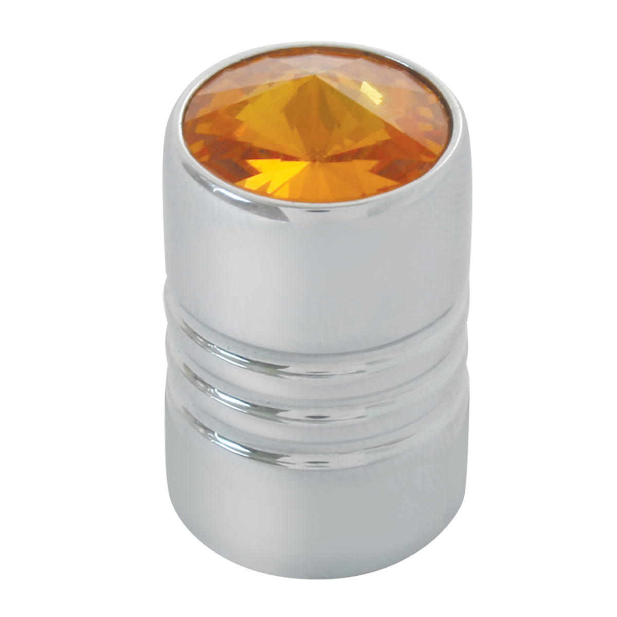 #50610 Chrome Plated Aluminum Tire Valve Stem Cover with Amber Crystal on Top