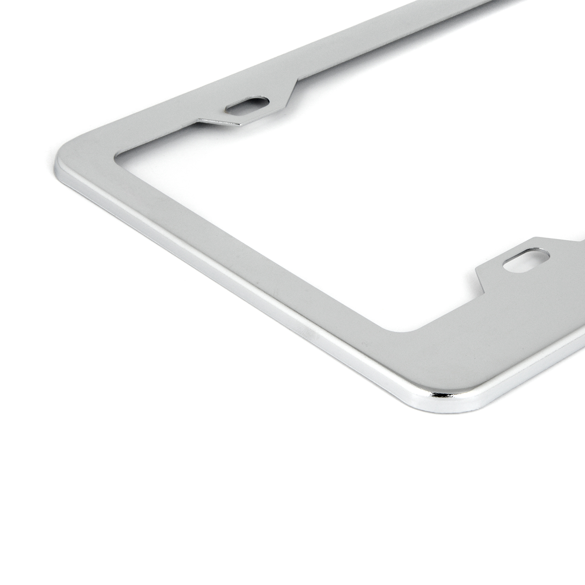 60050 Classic Chrome Plastic Steel 4-Hole License Plate Frames - Close Up View
