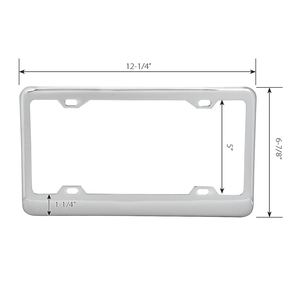 60050 Classic Chrome Plastic Steel 4-Hole License Plate Frames - Measurement