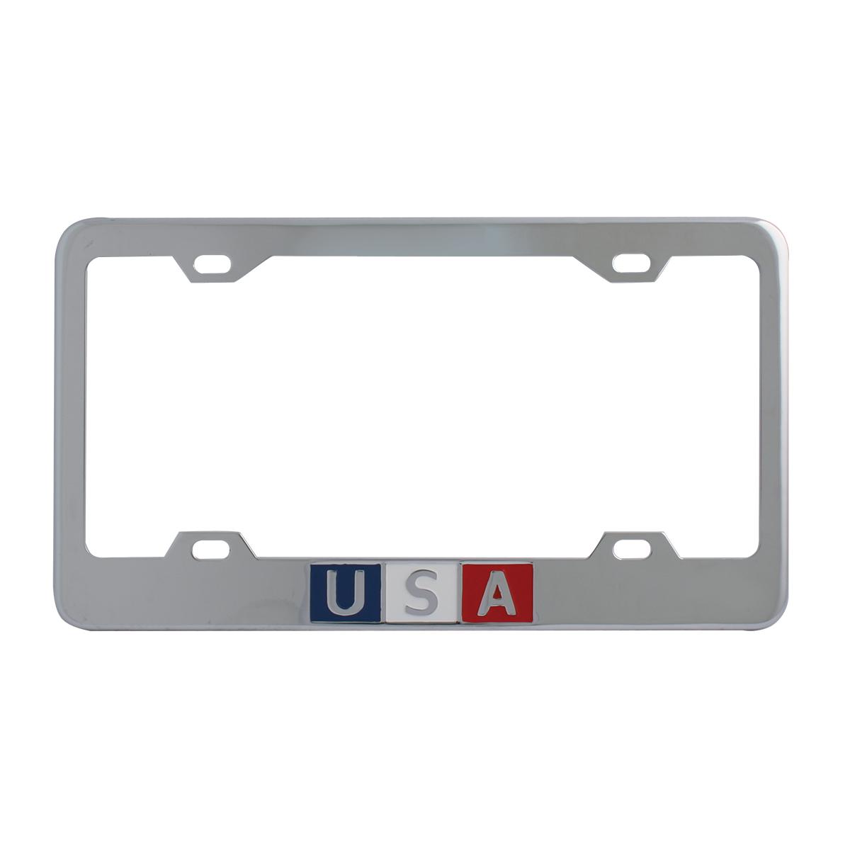 Chrome Plated Steel USA License Plate Frame - 4 Holes