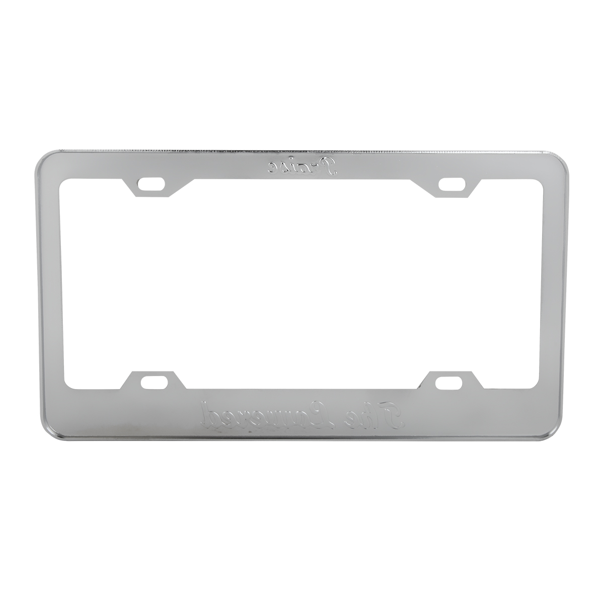 """4 Hole Frame with Black """"Praise the Lowered"""" Script - Back View"""