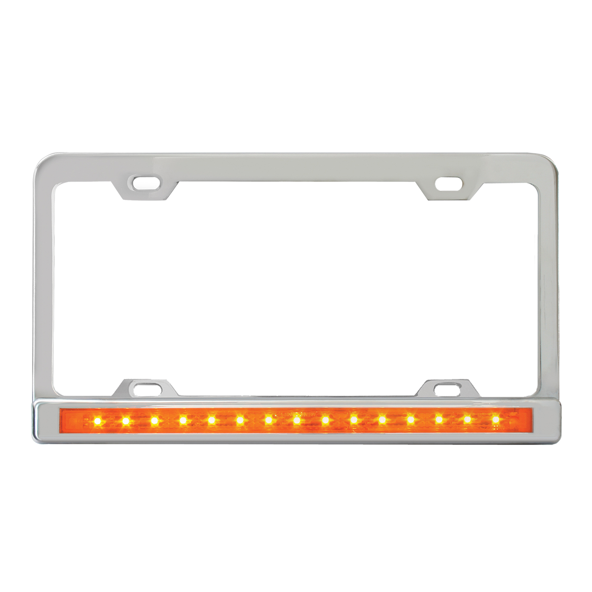 """Chrome Plated Steel 4 Holes License Plate Frame with 12"""" LED Amber/Amber"""