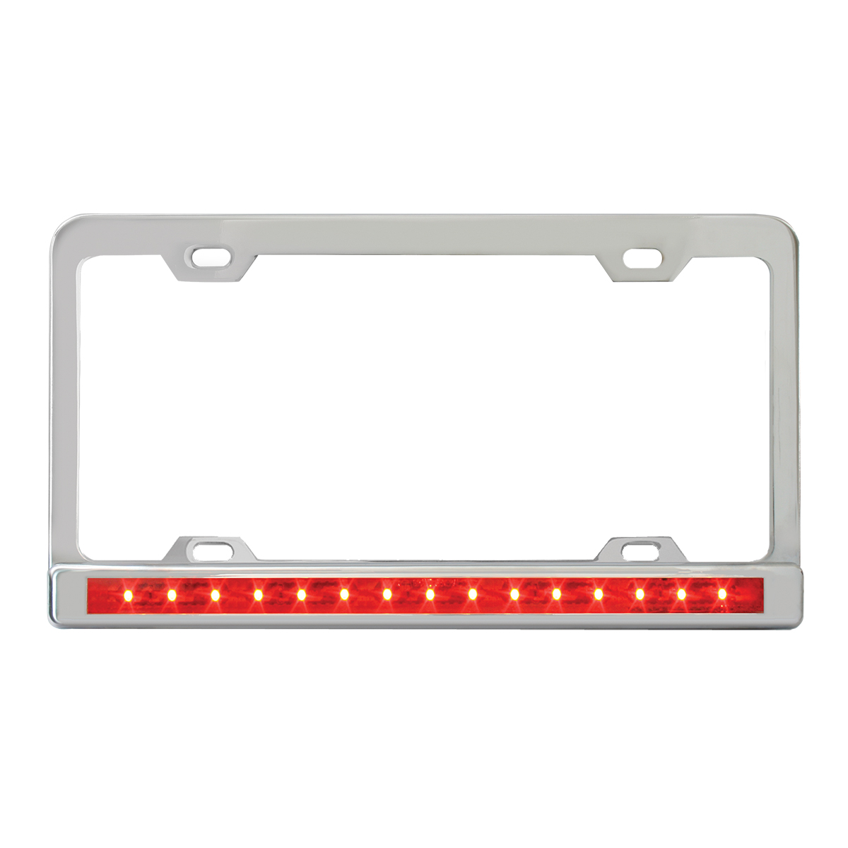 """Chrome Plated Steel 4 Holes License Plate Frame with 12"""" LED Red/Red"""