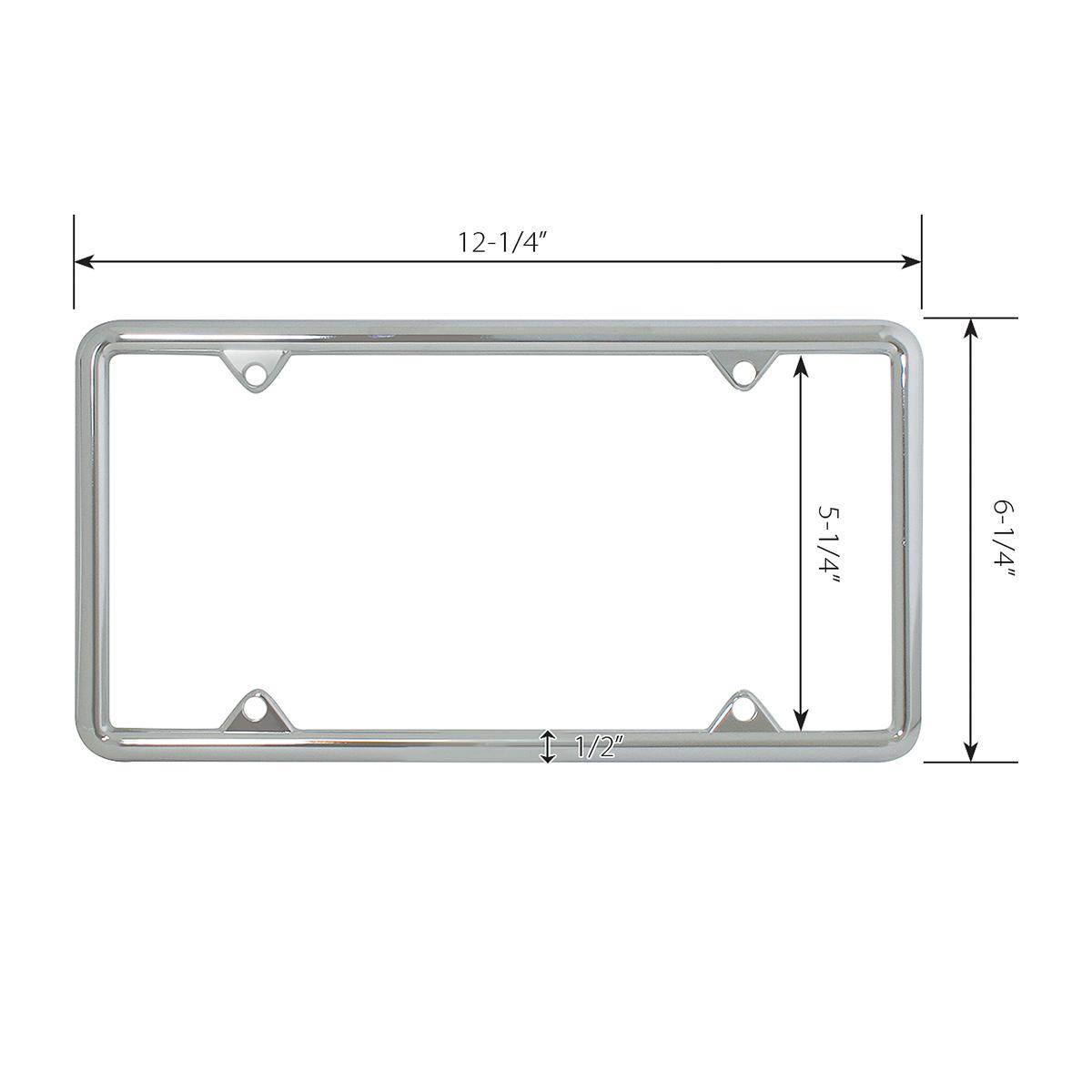 60061 Economic Chrome Zinc Classic 4-Hole License Plate Frames - Measurements