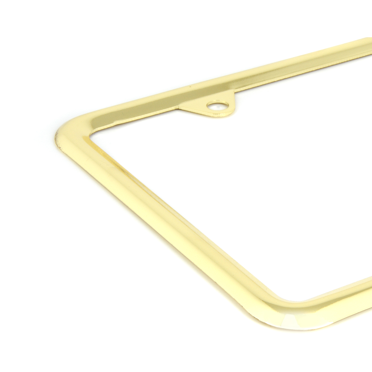 60062 Economic Brass-Plated Zinc Classic 4-Hole License Plate Frames - Close Up View