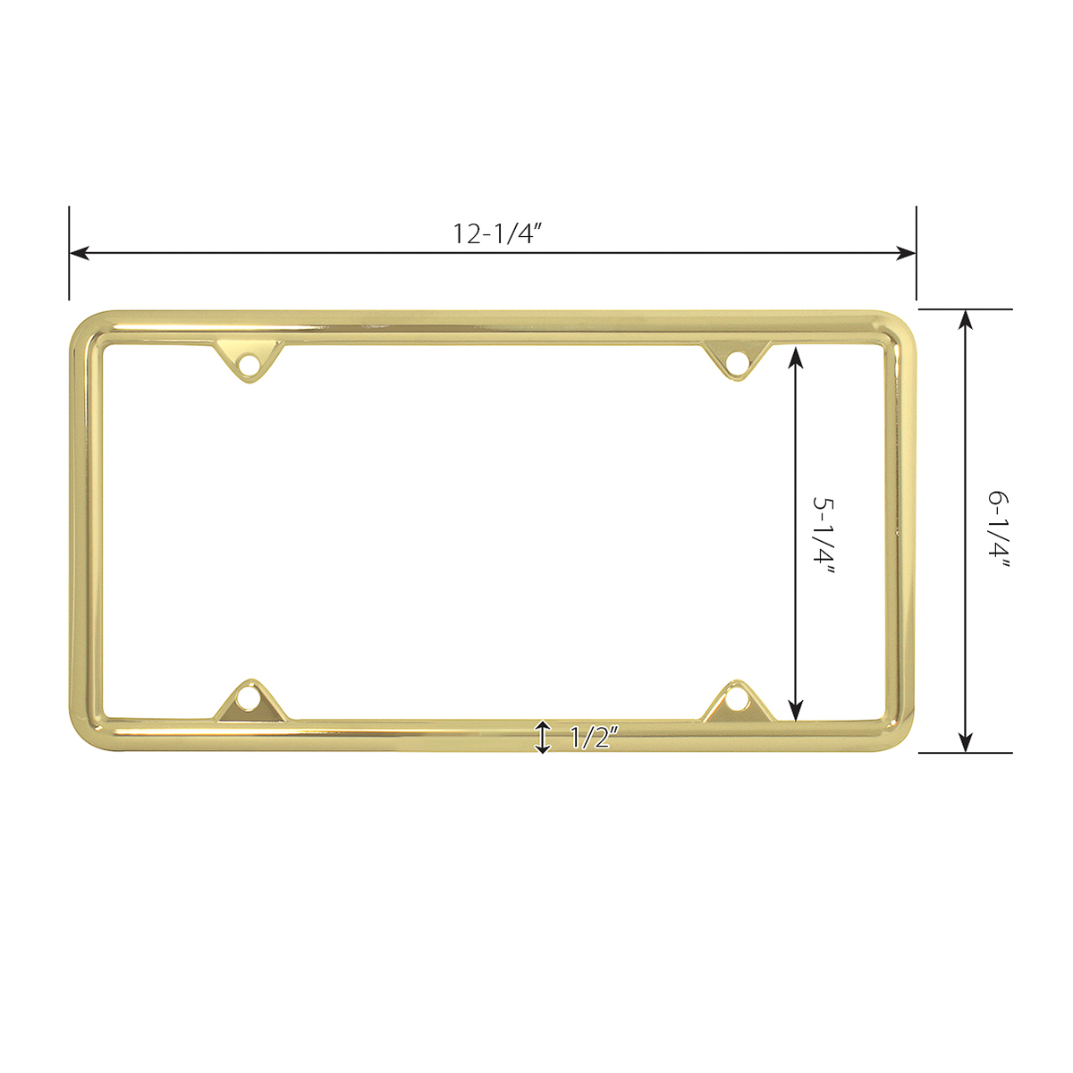 60062 Economic Brass-Plated Zinc Classic 4-Hole License Plate Frames - Measurements