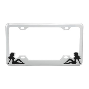 License Plate Frames with Sitting Lady Silhouettes
