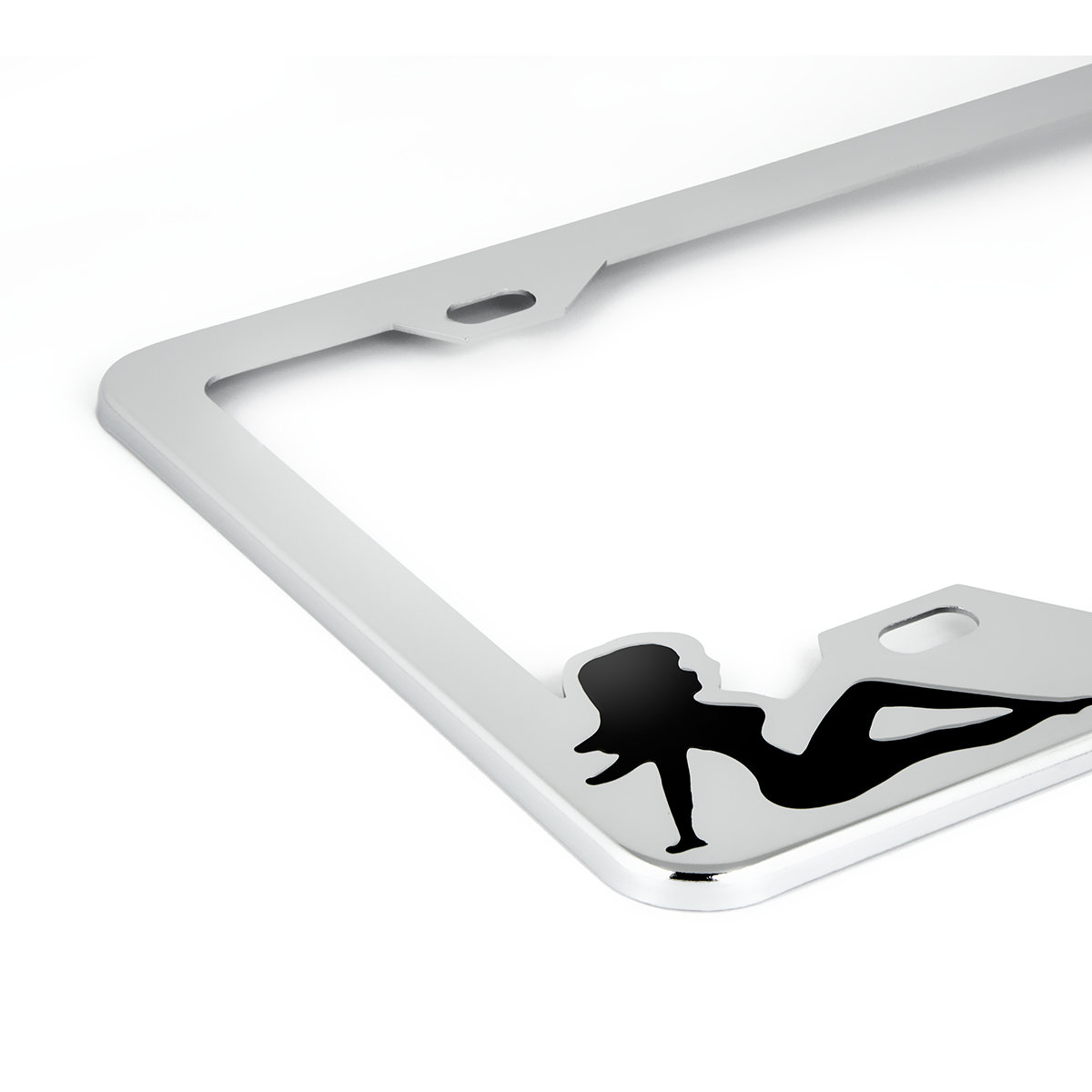 Chrome Plated Steel License Plate Frame with Black Color Sitting Ladies - Close Up View