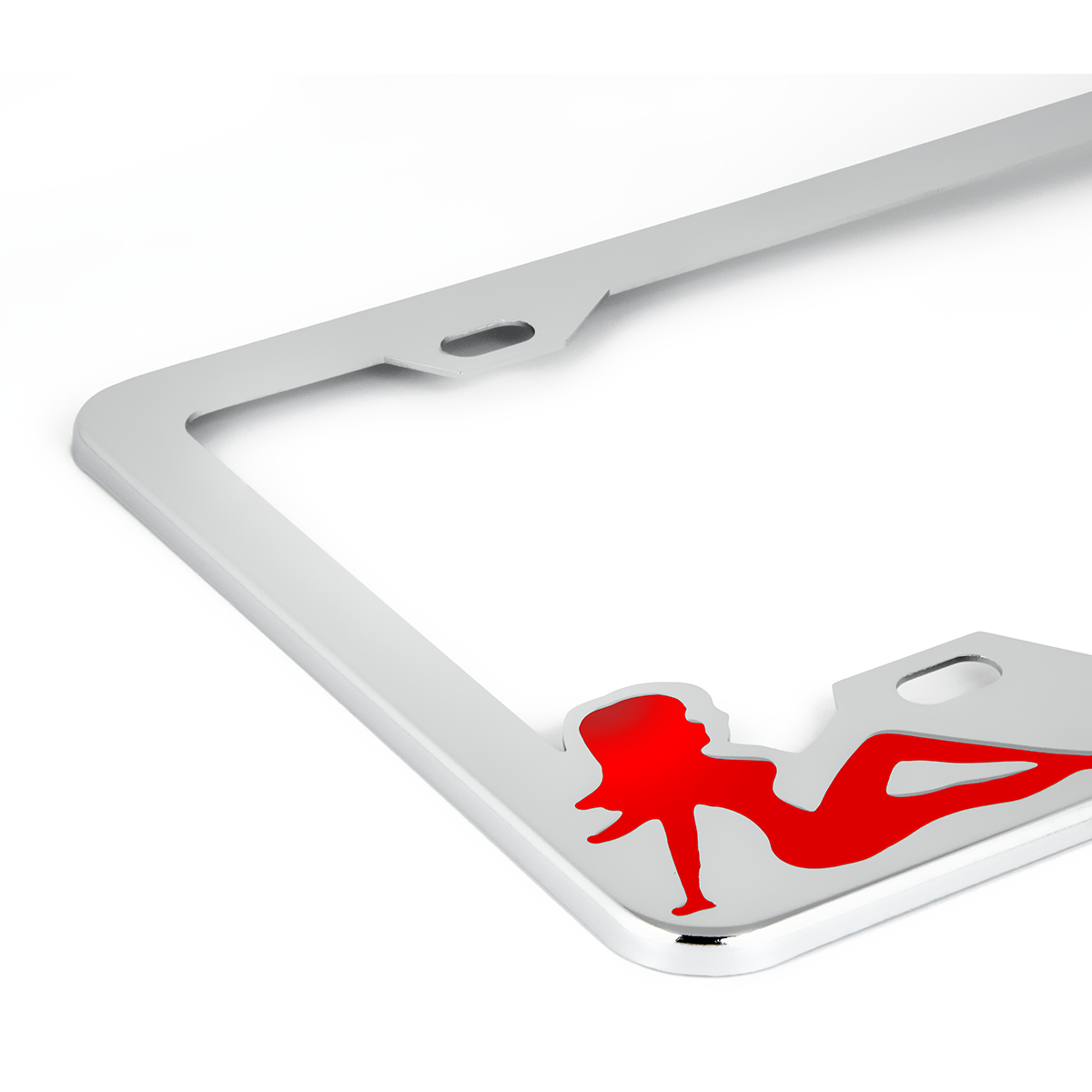 Chrome Plated Steel License Plate Frame with Red Color Sitting Ladies - Close Up View