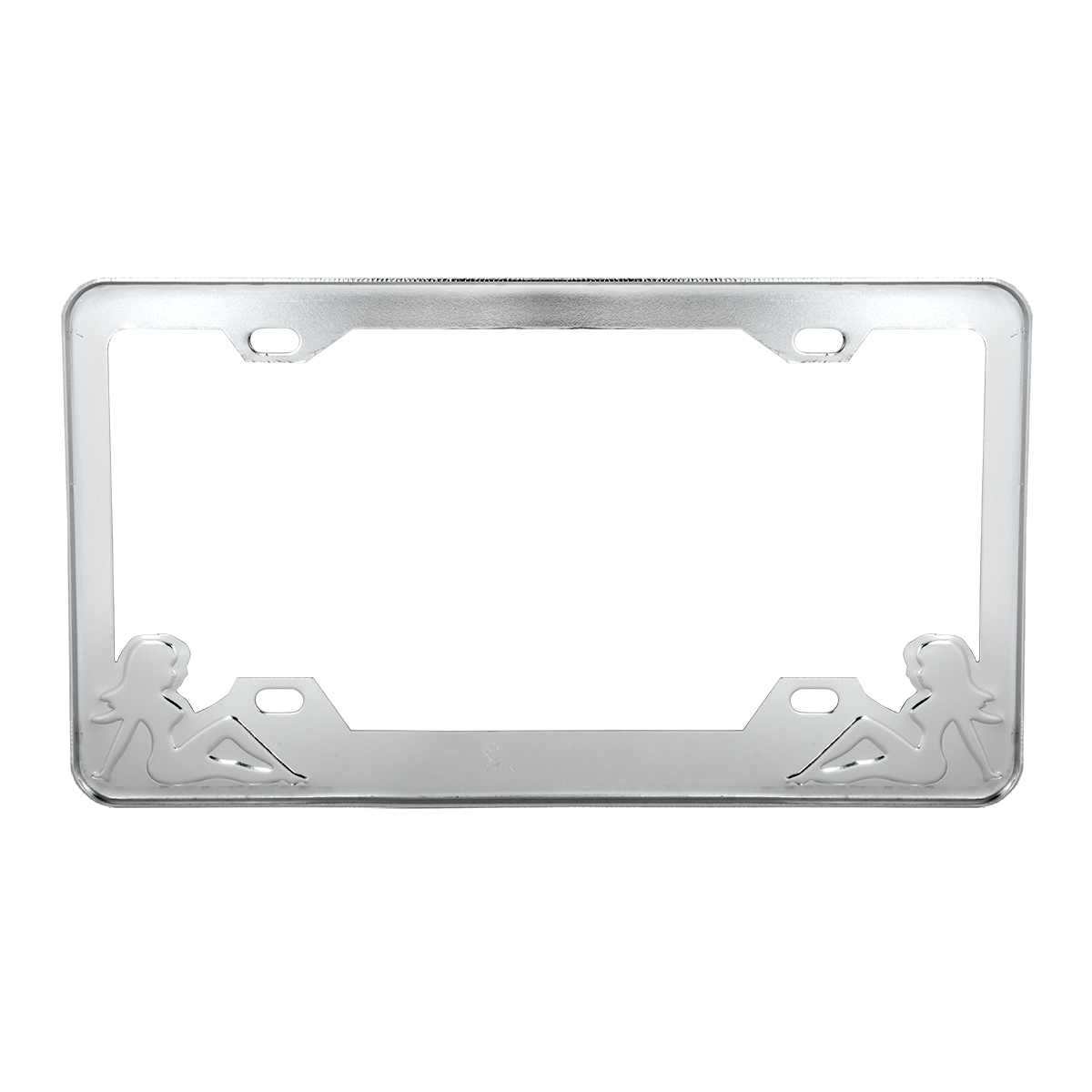 Chrome Plated Steel License Plate Frame with Red Color Sitting Ladies - Back View