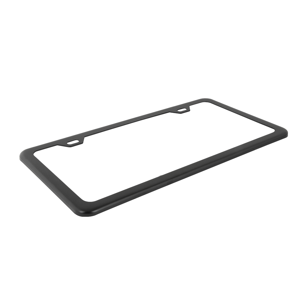 60402 Plain Matte Black 2 Hole License Plate Frame - Top View