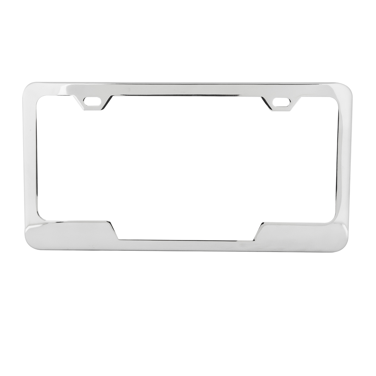 60405 Plain 2-Hole License Plate Frames with Center Cut