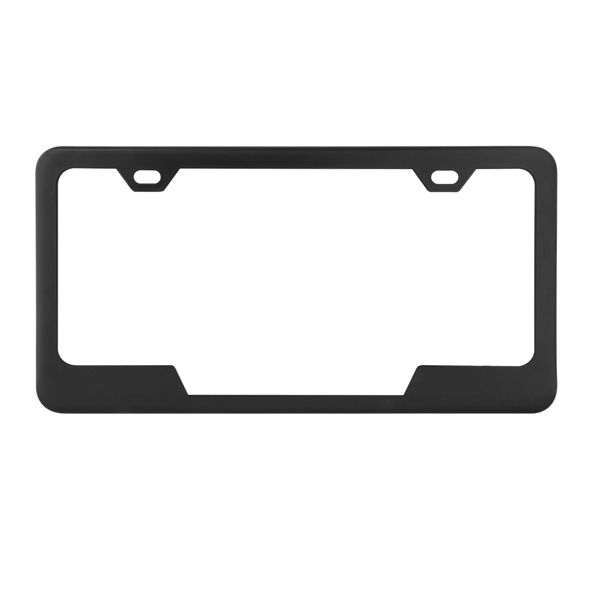 60406 Plain 2-Hole License Plate Frames with Center Cut