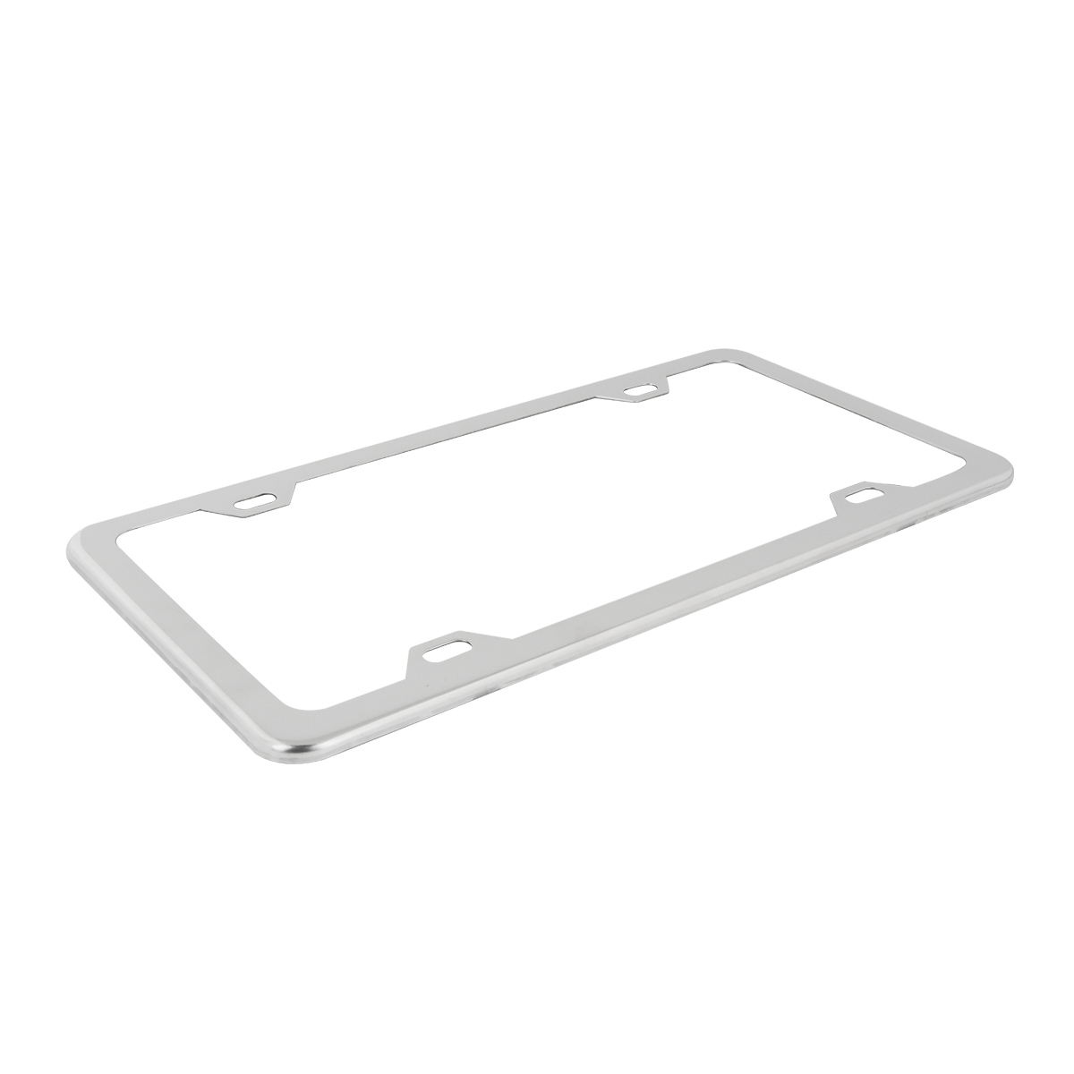 60412 Plain Chrome Plated 4 Hole License Plate Frame - Top View