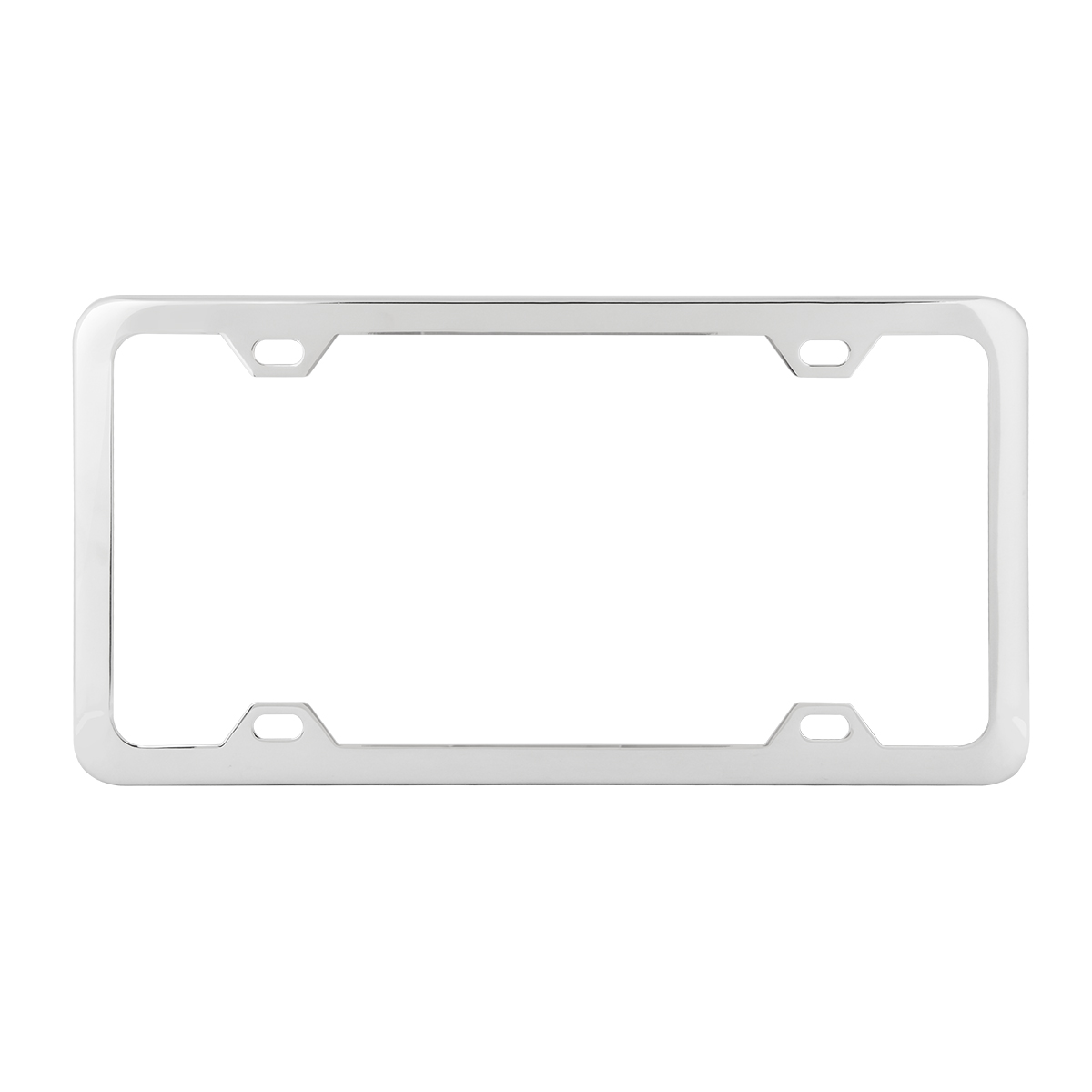 60413 Plain Polished Stainless Steel 4 Hole License Plate Frame