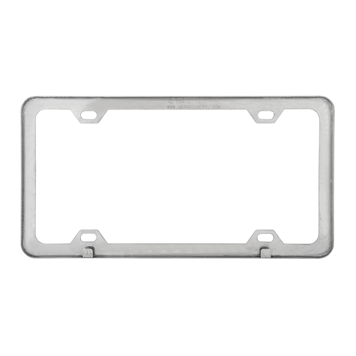60413 Plain Polished Stainless Steel 4 Hole License Plate Frame - Back View
