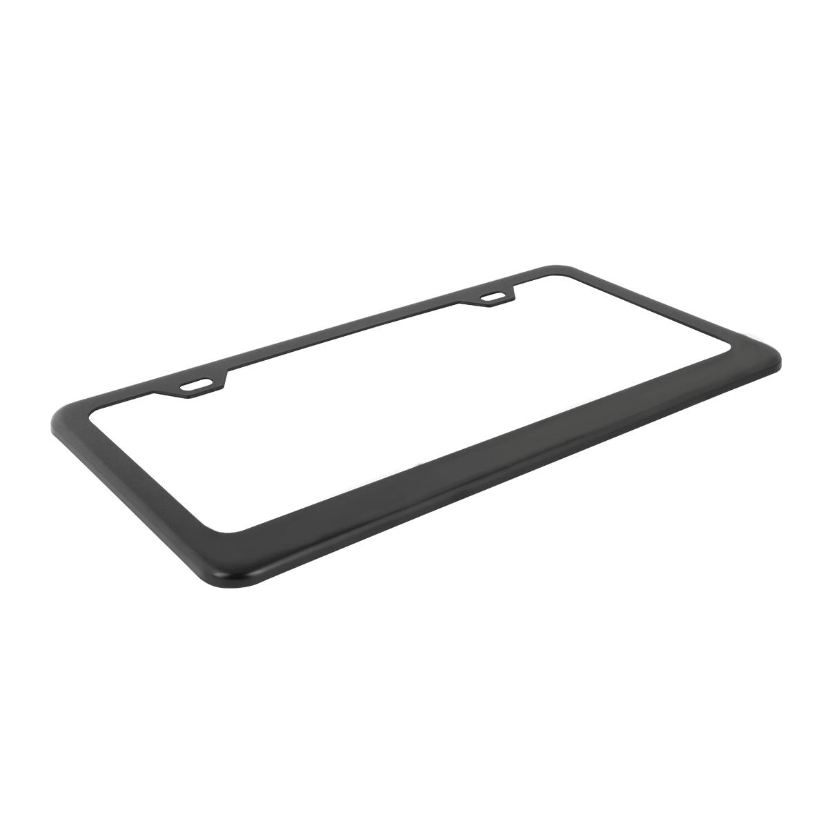 60439 Flat/Matte Plain Black 2 Hole License Plate Frame - Top View