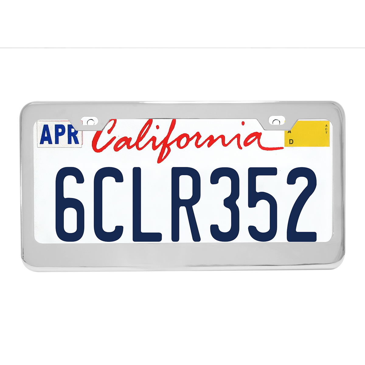 60440 Plain Chrome Plated Steel 2 Hole License Plate Frame - Profile View