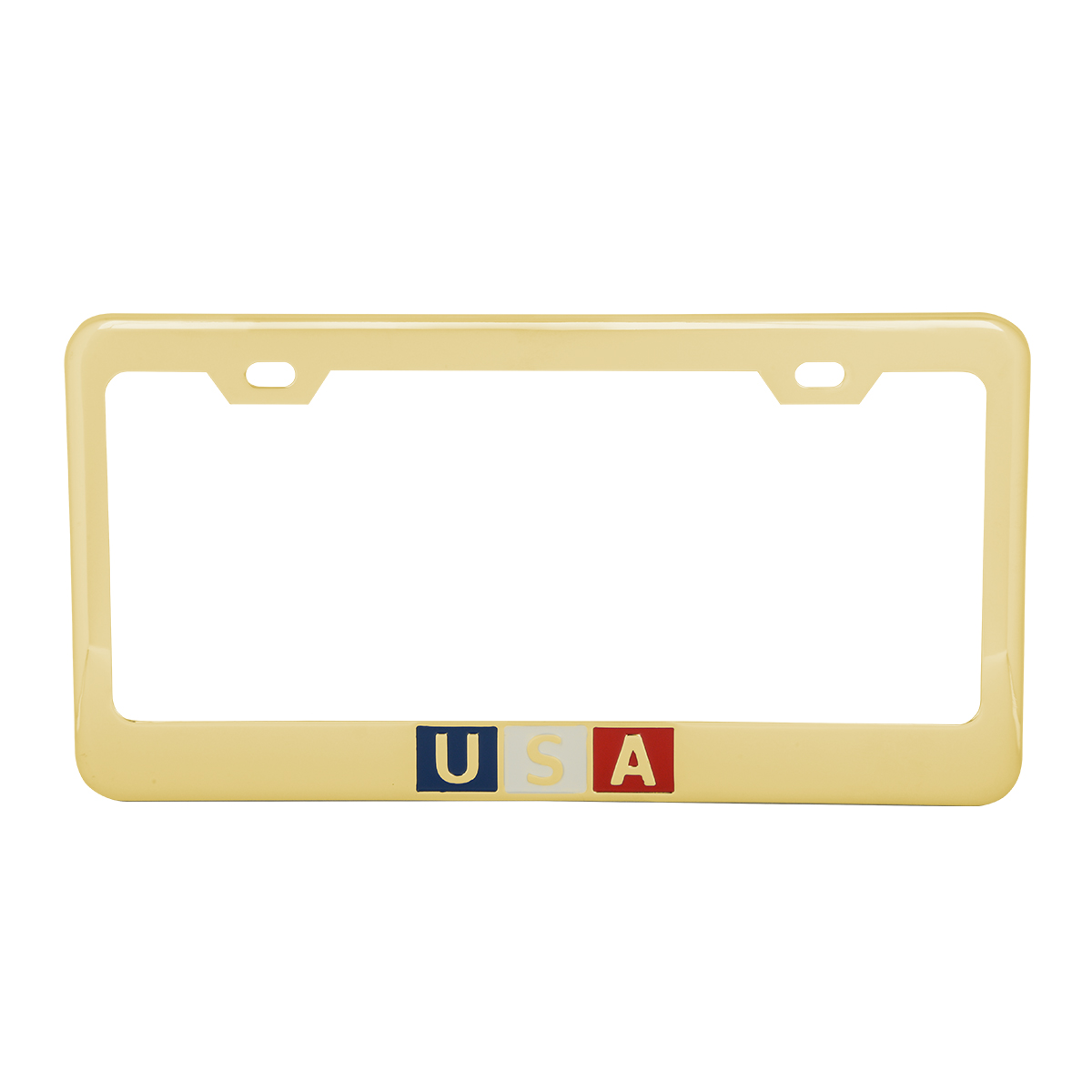 Brass-Plated (Gold Color) USA License Plate Frame