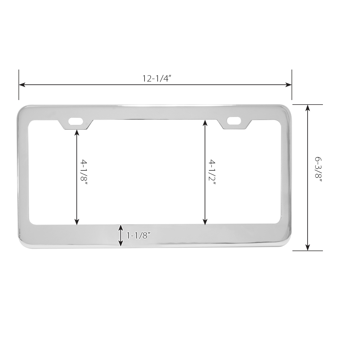 Plain Stainless Steel 2 Hole License Plate Frame - Measurements