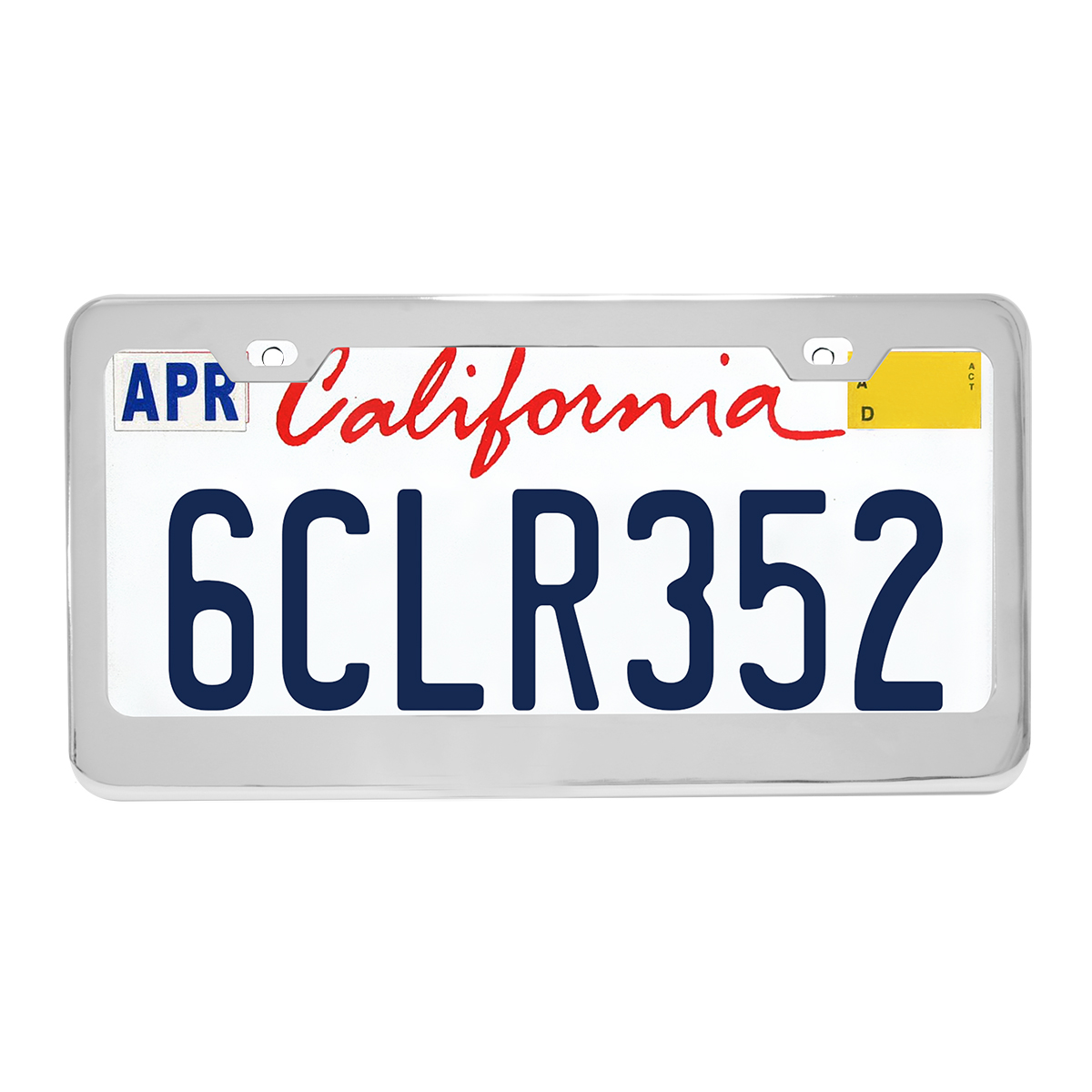 Plain Stainless Steel 2 Hole License Plate Frame - Profile View