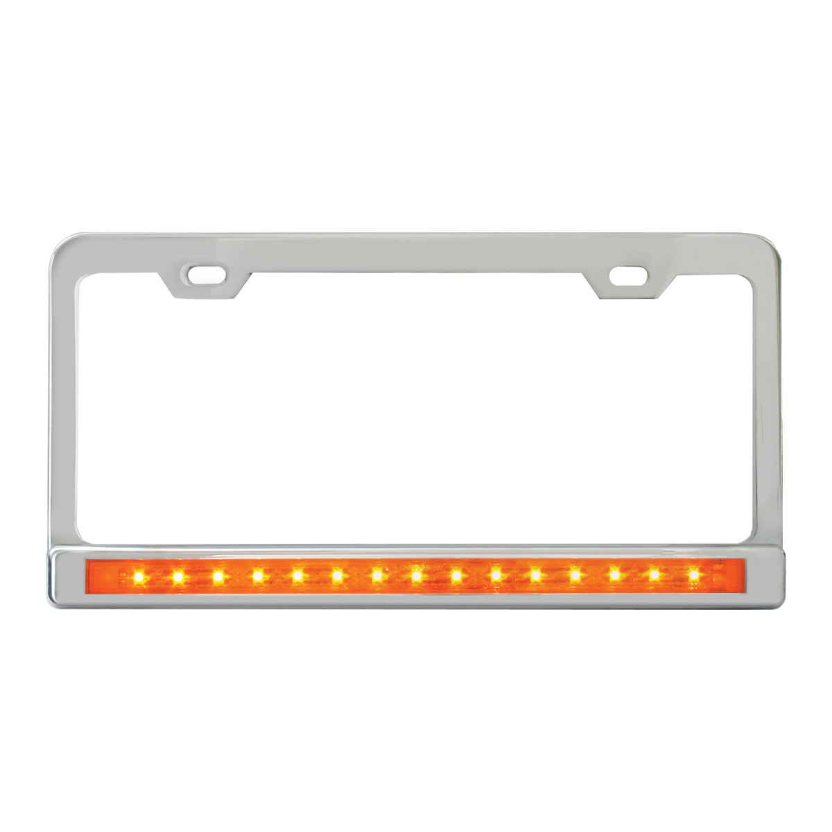 """Chrome Plated Steel 2 Holes License Plate Frame with 12"""" LED Amber/Amber"""