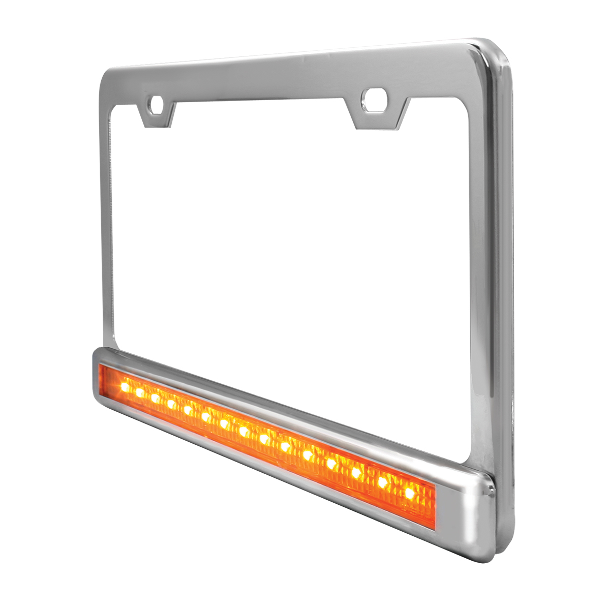 """Chrome Plated Steel 2 Holes License Plate Frame with 12"""" LED Amber/Clear - Side View"""