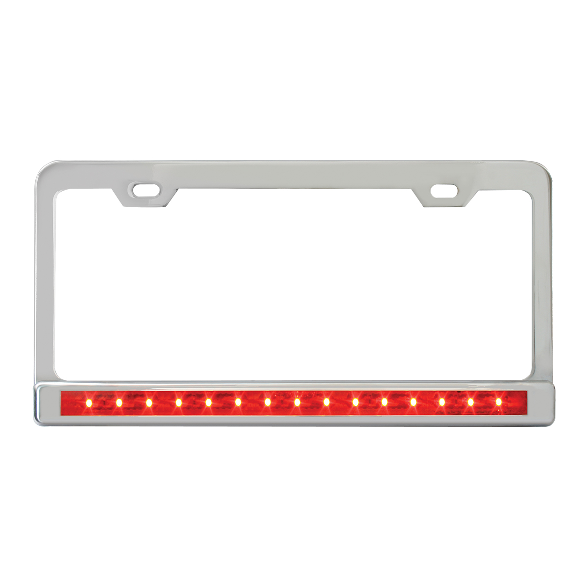chrome plated steel 2 holes license plate frame with 12 led redred chrome plated steel 2 holes license plate frame with 12 led redred