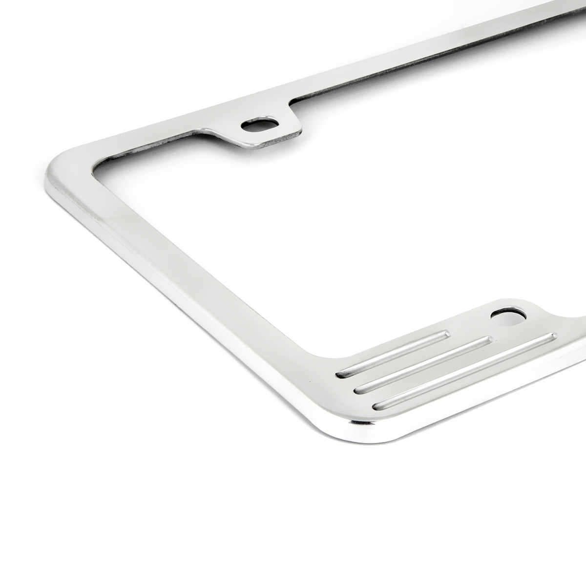 60470 Aluminum License Plate Frame with 4 Holes - Close Up View