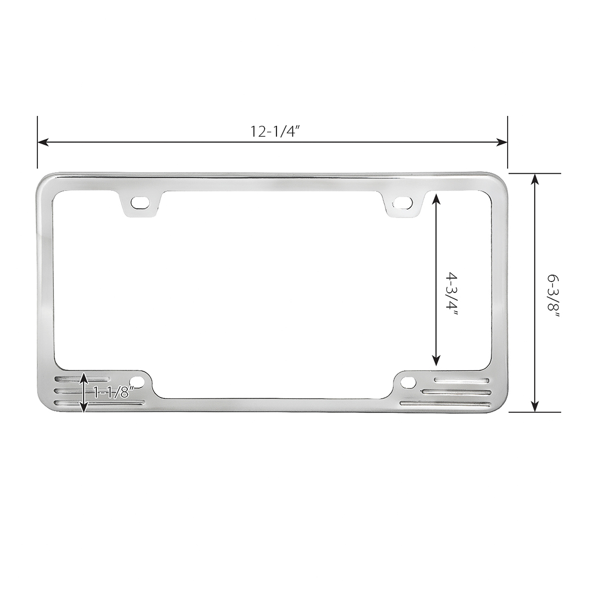 60470 Aluminum License Plate Frame with 4 Holes - Measurements