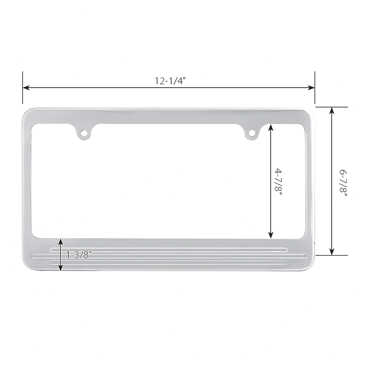 60473 Aluminum License Plate Frame with 2 Holes - Measurements