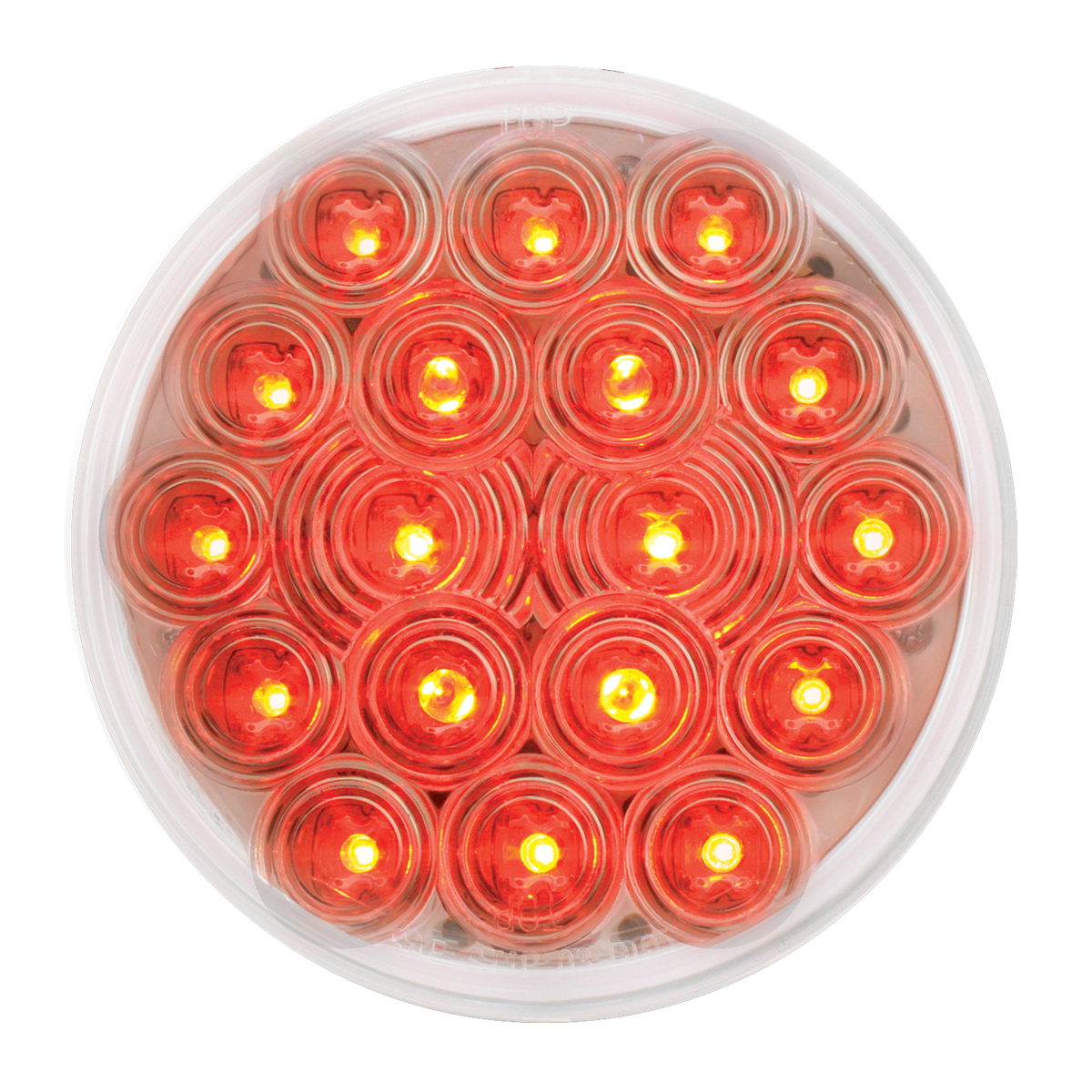"#76453 - 4"" Round Fleet LED Flat Red/Clear Light"