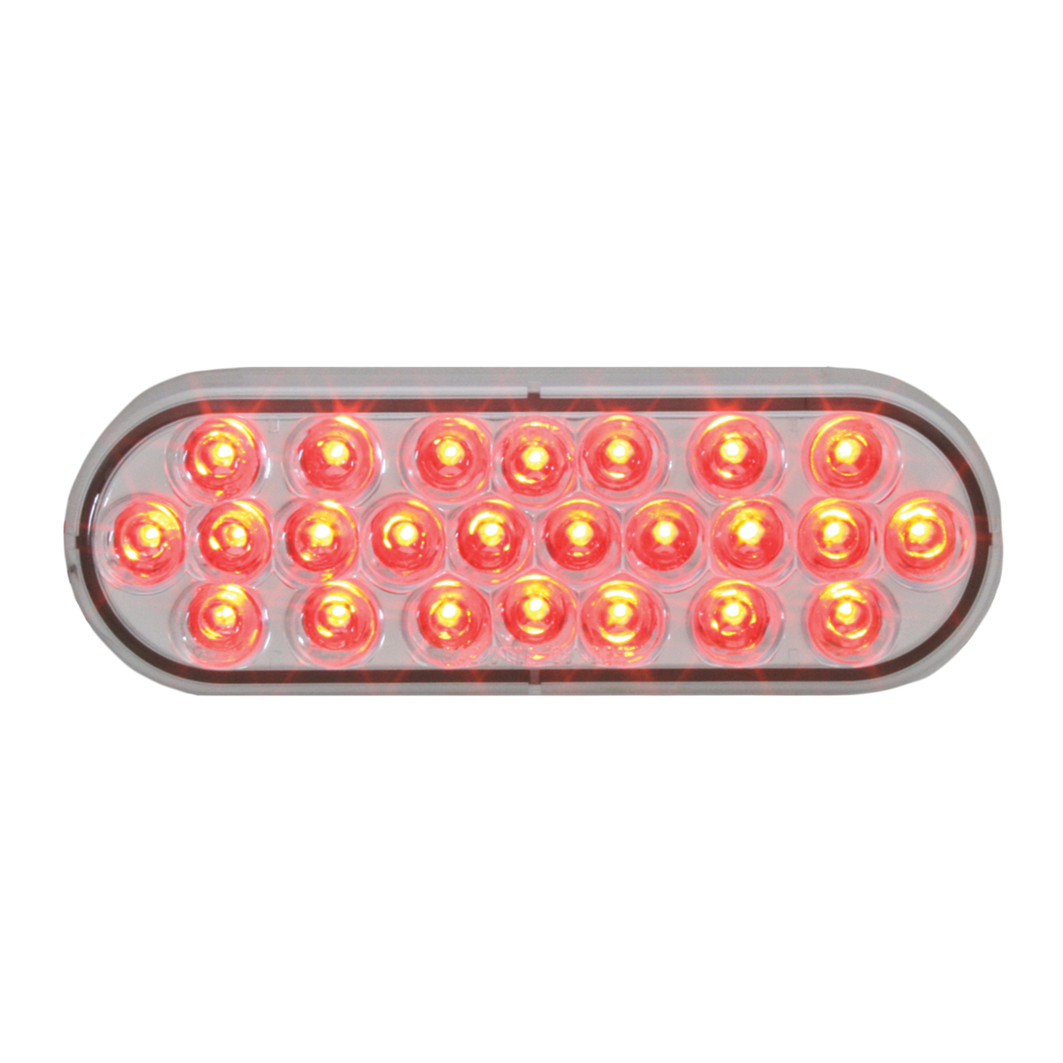 #78234 - Oval Sealed Pearl LED Flat Red/Clear Light - Slanted