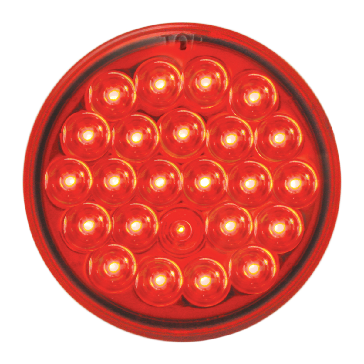 "#78273 - 4"" Round Pearl LED Flat Red/Red Light"