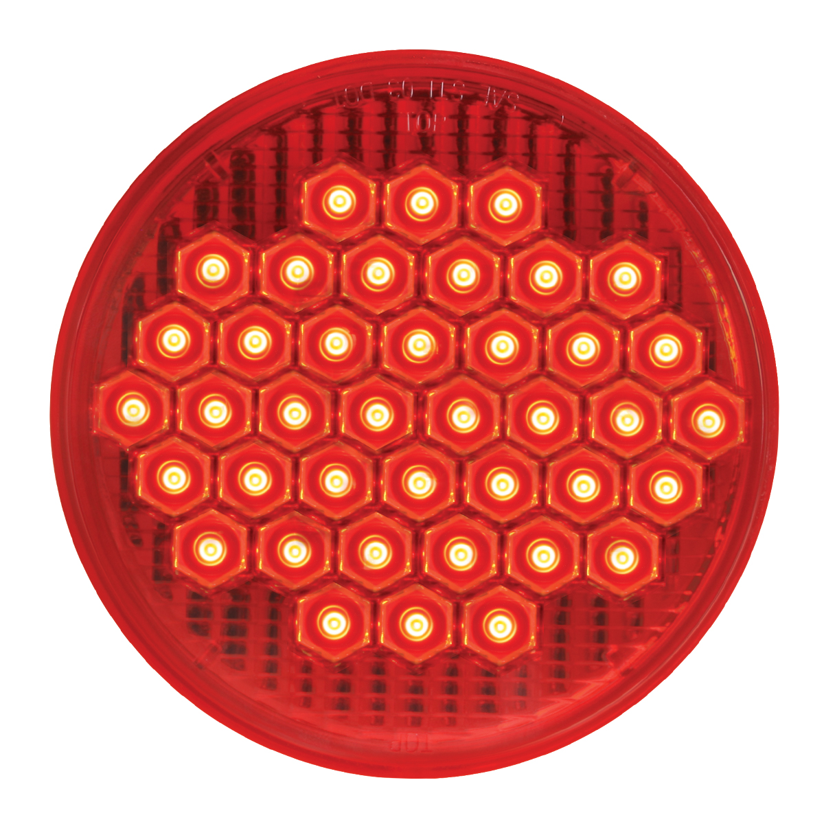 "#87700 - 4"" Round High Count LED Flat Red/Red Light"