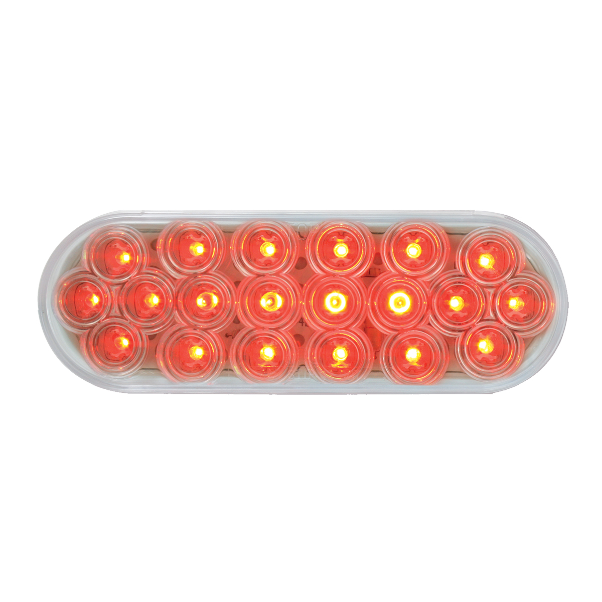 #87729 Oval Fleet LED Flat Red/Clear Light - Slanted
