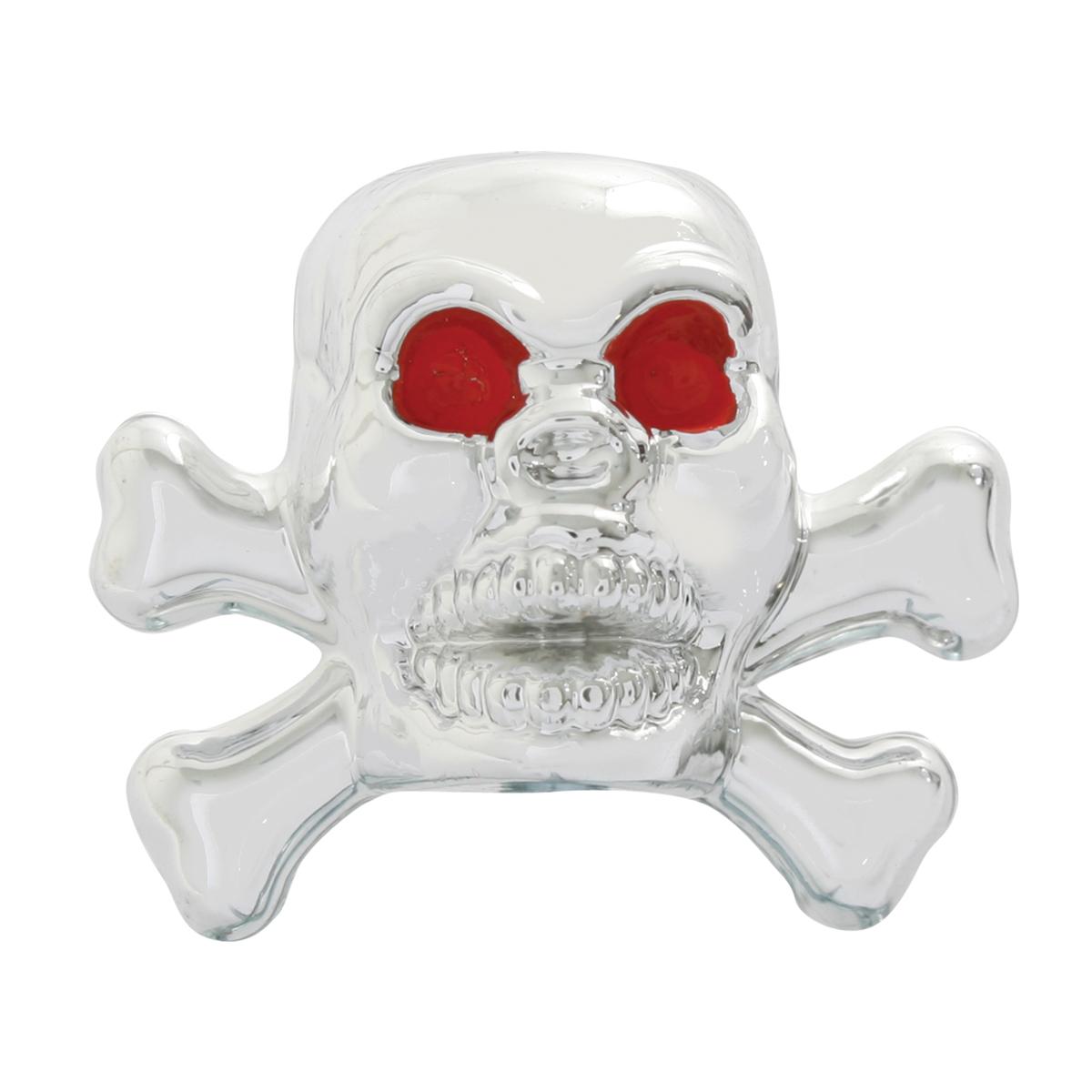 #93405 Chrome Plastic Skull Tire Valve Stem Cover w/Red Eyes