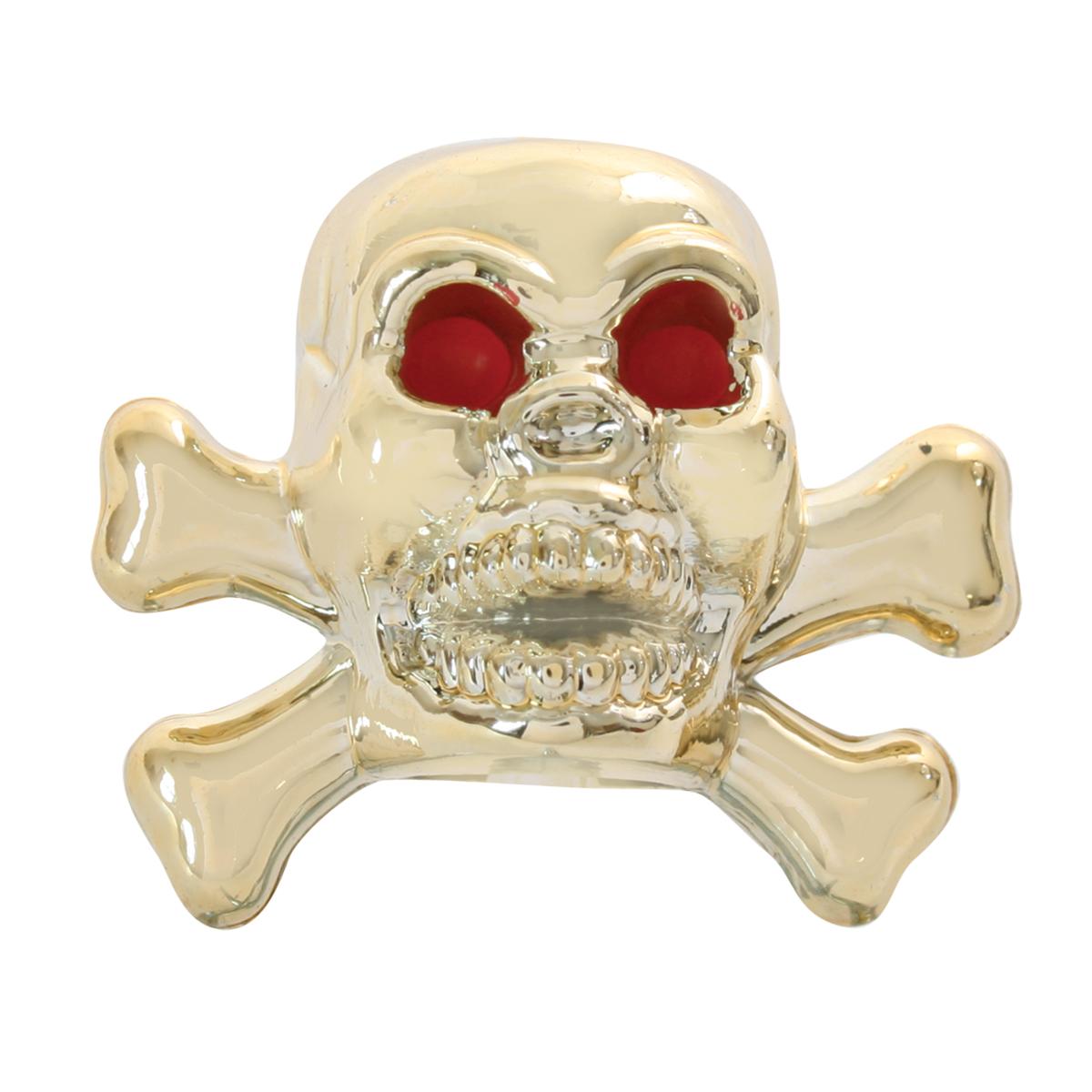 #93405 18K Gold Plated Skull Tire Valve Stem Cover w/Red Eyes